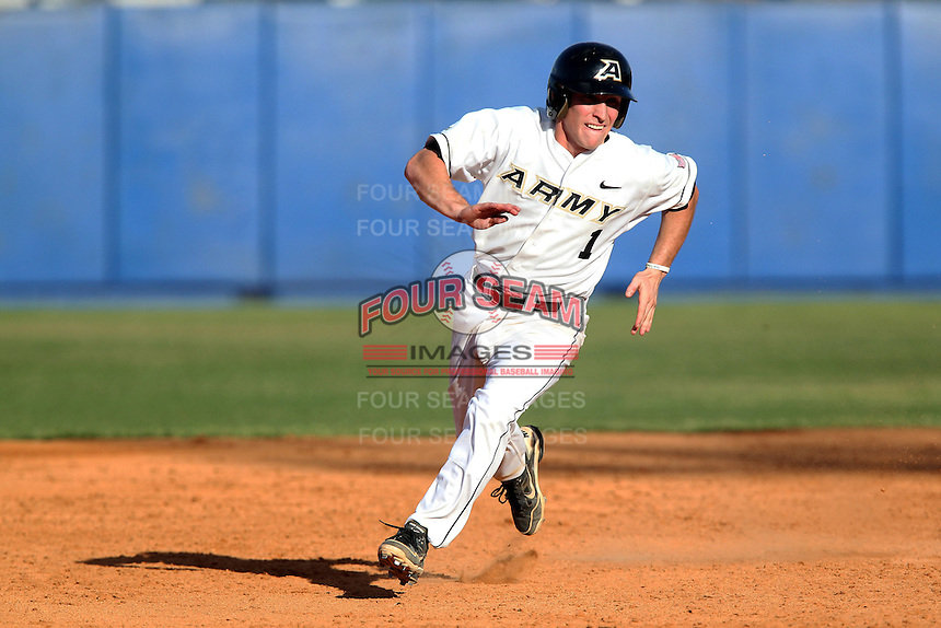 Army infielder Zach Price #1 during a game against the Illinois State Redbirds at Chain of Lakes Stadium on March 17, 2012 in Winter Haven, Florida.  Illinois State defeated Army 7-5.  (Mike Janes/Four Seam Images)
