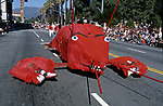 Lobster float in the doo Dah Parade, a spoof of the Rose Parade, in Pasadena, CA