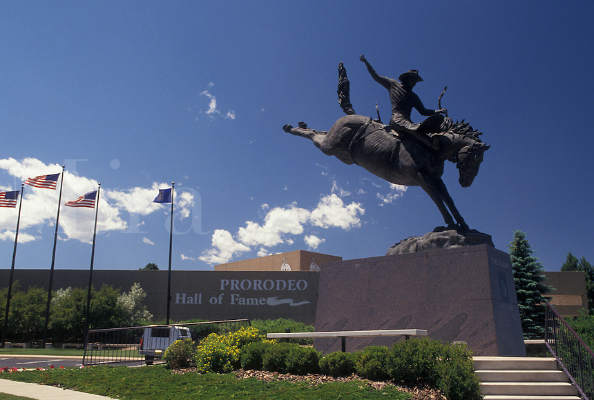hall of fame, rodeo, Colorado Springs, CO, Colorado, The Champ, Casey Tibbs, statue outside Prorodeo Hall of Fame in Colorado Springs.