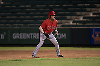 AZL Angels center fielder Jordyn Adams (21) takes a lead off first base during an Arizona League game against the AZL Padres 2 at Tempe Diablo Stadium on July 18, 2018 in Tempe, Arizona. The AZL Padres 2 defeated the AZL Angels 8-1. (Zachary Lucy/Four Seam Images)