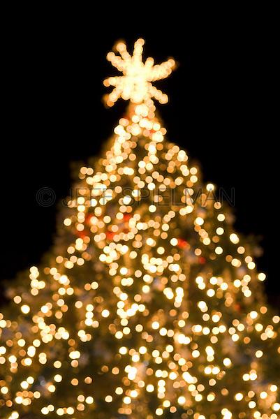 Christmas Tree Illuminated at Night, Soft Focus/Defocused Effect....Bryant Park, New York City, New York State, USA