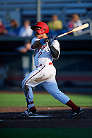 Auburn Doubledays Onix Vega (7) at bat during a NY-Penn League game against the West Virginia Black Bears on August 23, 2019 at Falcon Park in Auburn, New York.  West Virginia defeated Auburn 8-1, the first game of a doubleheader.  (Mike Janes/Four Seam Images)