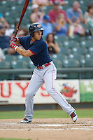 Oklahoma City RedHawks outfielder George Springer (8) at bat against the Round Rock Express during the Pacific Coast League baseball game on August 25, 2013 at the Dell Diamond in Round Rock, Texas. Round Rock defeated Oklahoma City 9-2. (Andrew Woolley/Four Seam Images)