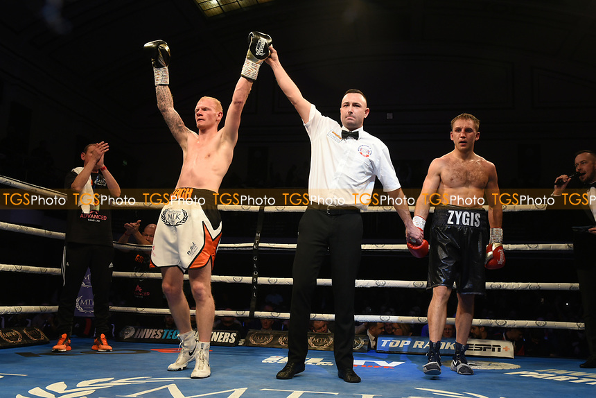 Jack Martin (white shorts) defeats Zygimantas Butkevicius during a Boxing Show at York Hall on 9th November 2019
