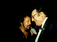 Montreal (QC) CANADA - july  1987 file photo - French comic Raymond Devos at Montreal Juste Pour Rire Festival with  Vittorio (L)