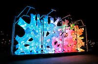 Nederland  Amsterdam 2016. Amsterdam Light Festival. Kunstwerk Rhizome House. Foto Berlinda van Dam / Hollandse Hoogte