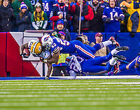 14 December 2014: Green Bay Packers running back Eddie Lacy tries to get out of the end zone after picking up his team fumble but is kept in for a 2-point touchback in the fourth quarter against the Buffalo Bills at Ralph Wilson Stadium in Orchard Park, NY. The Bills defeated the Packers 21-13, snapping the Packers' 5-game winning streak and keeping the Bills' 2014 playoff hopes alive. Mandatory Credit: Ed Wolfstein Photo *** RAW (NEF) Image File Available ***