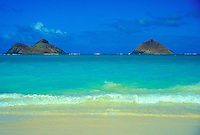 Beautiful view of the Moku Lua islands from Lanikai beach