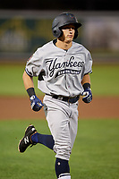 Staten Island Yankees designated hitter Kyle Gray (18) rounds the bases after hitting a home run in the top of the seventh inning during a game against the Aberdeen IronBirds on August 23, 2018 at Leidos Field at Ripken Stadium in Aberdeen, Maryland.  Aberdeen defeated Staten Island 6-2.  (Mike Janes/Four Seam Images)