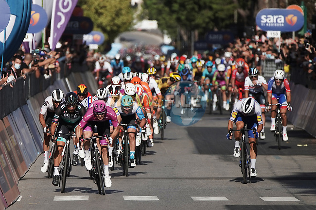 Maglia Ciclamino French Champion Arnaud Demare (FRA) Groupama-FDJ wins Stage 7 of the 103rd edition of the Giro d'Italia 2020 running 143km from Matera to Brindisi, Sicily, Italy. 9th October 2020.  <br /> Picture: LaPresse/Gian Mattia D'Alberto | Cyclefile<br /> <br /> All photos usage must carry mandatory copyright credit (© Cyclefile | LaPresse/Gian Mattia D'Alberto)