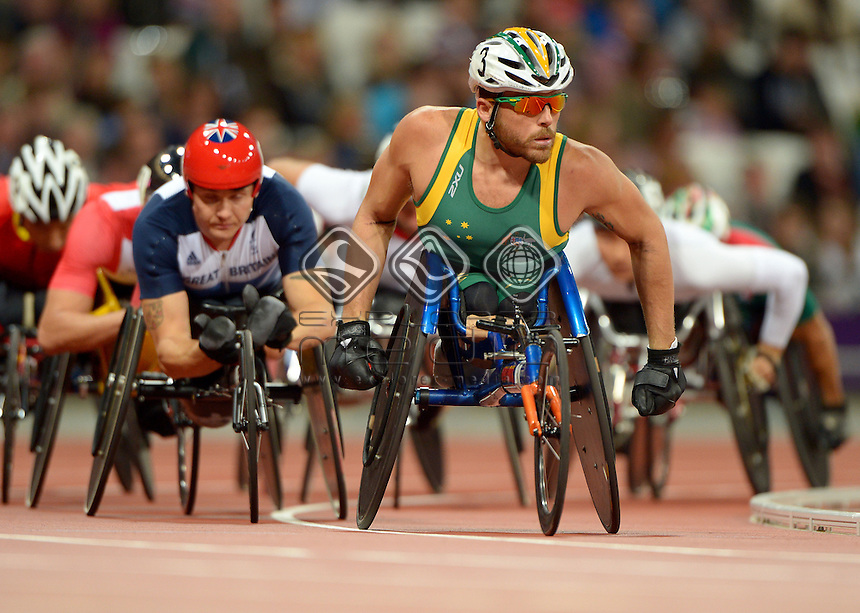 Kurt Fearnley (AUS) silver medal<br /> Athletics: Men's 5000m T-54<br />  Olympic Stadium (Sunday 2 Sept)<br /> Paralympics - Summer / London 2012<br /> London England 29 Aug - 9 Sept <br /> © Sport the library / Jeff Crow
