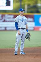 Burlington Royals third baseman Jake Means (9) on defense against the Pulaski Yankees at Calfee Park on August 31, 2019 in Pulaski, Virginia. The Yankees defeated the Royals 6-0. (Brian Westerholt/Four Seam Images)