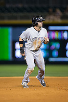 Ryan LaMarre (10) of the Louisville Bats takes his lead off of second base against the Charlotte Knights at BB&T BallPark on May 12, 2015 in Charlotte, North Carolina.  The Knights defeated the Bats 4-0.  (Brian Westerholt/Four Seam Images)