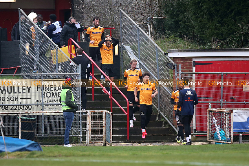 Maidstone players take to the field during Hornchurch vs Maidstone United, Buildbase FA Trophy Football at Hornchurch Stadium on 6th February 2021