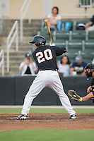 Brett Austin (20) of the Kannapolis Intimidators at bat against the West Virginia Power at Intimidators Stadium on July 2, 2015 in Kannapolis, North Carolina.  The Power defeated the Intimidators 5-1.  (Brian Westerholt/Four Seam Images)
