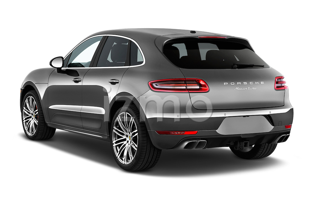 Car pictures of rear three quarter view of a 2018 Porsche Macan Turbo 5 Door SUV angular rear