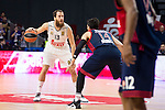 Real Madrid´s player Sergio Rodriguez and Bayern Munich´s player Djedovic during the 4th match of the Turkish Airlines Euroleague at Barclaycard Center in Madrid, Spain, November 05, 2015. <br /> (ALTERPHOTOS/BorjaB.Hojas)