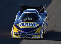 Feb. 22, 2013; Chandler, AZ, USA; NHRA funny car driver Ron Capps during qualifying for the Arizona Nationals at Firebird International Raceway. Mandatory Credit: Mark J. Rebilas-