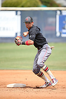Royce Lewis (6) of the JSerra Catholic High School Lions takes infield practice before a game against the St. John Bosco High School Braves at St. John Bosco H.S. on May 9, 2017 in Bellflower, California. (Larry Goren/Four Seam Images)