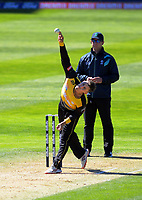 Wellington's Peter Younghusband bowls during the Dream11 Super Smash cricket match between the Wellington Firebirds and Canterbury Kings at Basin Reserve in Wellington, New Zealand on Thursday, 9 January 2020. Photo: Dave Lintott / lintottphoto.co.nz