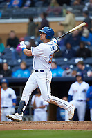 Nate Lowe (36) of the Durham Bulls follows through on his swing against the Gwinnett Braves at Durham Bulls Athletic Park on April 20, 2019 in Durham, North Carolina. The Bulls defeated the Braves 11-3 in game one of a double-header. (Brian Westerholt/Four Seam Images)