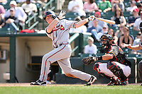 April 17th, 2008:  Catcher Clint Sammons (5) of the Richmond Braves, Class-AAA affiliate of the Atlanta Braves, at bat during a game at Frontier Field in Rochester, NY.  Photo by:  Mike Janes/Four Seam Images