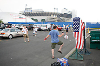 Some USA fans juggle a ball in the parking lot prior to the match. The men's national teams of the United States and Argentina played to a 0-0 tie during an international friendly at Giants Stadium in East Rutherford, NJ, on June 8, 2008.