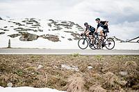 Nicolas Roche (IRE/DSM) & Nikias Arndt (DEU/DSM) up the Passo San Bernardino (2065m/SUI)<br /> <br /> 104th Giro d'Italia 2021 (2.UWT)<br /> Stage 20 (through Switzerland) from Verbania to Valle Spluga-Alpe Motta (164km)<br /> <br /> ©kramon