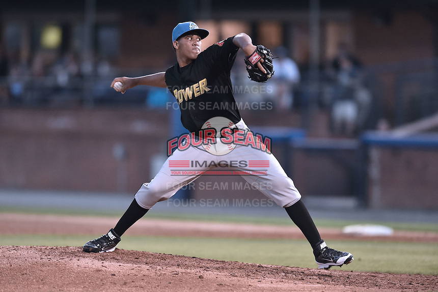 West Virginia Power pitcher Yeudy Garcia (38) delivers a pitch during the South Atlantic League All Star Game on June 23, 2015 in Asheville, North Carolina. The North Division defeated the South 7-5(Tony Farlow/Four Seam Images)