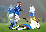 St Johnstone v Kilmarnock…06.11.20   McDiarmid Park SPFL<br />Murray Davidson gets the better of Aaron Tshibola<br />Picture by Graeme Hart.<br />Copyright Perthshire Picture Agency<br />Tel: 01738 623350  Mobile: 07990 594431