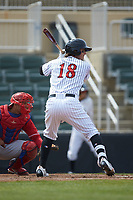 Michael Hickman (18) of the Kannapolis Intimidators at bat against the Lakewood BlueClaws at Kannapolis Intimidators Stadium on April 8, 2018 in Kannapolis, North Carolina.  The Intimidators defeated the BlueClaws 5-1 in game one of a double-header.  (Brian Westerholt/Four Seam Images)