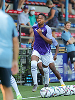 Simion Michez of Anderlecht sprinting during the warm up before  a friendly soccer game between K Londerzeel SK and RSC Anderlecht Reserves during the preparations for the 2021-2022 season , on Wednesday 21st of July 2021 in Londerzeel , Belgium . PHOTO SEVIL OKTEM   SPORTPIX
