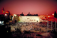 The Western wall in Israel with crowds of people in front of it. Holy site. Landmark. Judaism. Jerusalem, Israel.