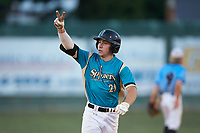 Davis Turner (21) (Lenoir Rhyne) of the Mooresville Spinners rounds the bases after hitting a 2-run home run against the Dry Pond Blue Sox at Moor Park on July 2, 2020 in Mooresville, NC.  The Spinners defeated the Blue Sox 9-4. (Brian Westerholt/Four Seam Images)