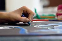 Using crayons, Art class, State Secondary School.