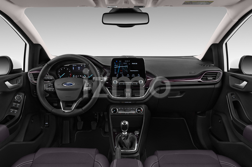 Stock photo of straight dashboard view of a 2018 Ford Fiesta Vignale Base 5 Door Hatchback