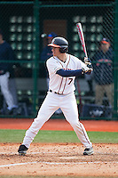 Adam Haseley (7) of the Virginia Cavaliers at bat against the Hartford Hawks at The Ripken Experience on February 27, 2015 in Myrtle Beach, South Carolina.  The Cavaliers defeated the Hawks 5-1.  (Brian Westerholt/Four Seam Images)