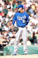 Kansas City Royals pitcher Everett Teaford #61 during a game against the Chicago White Sox at U.S. Cellular Field on August 14, 2011 in Chicago, Illinois.  Chicago defeated Kansas City 6-2.  (Mike Janes/Four Seam Images)