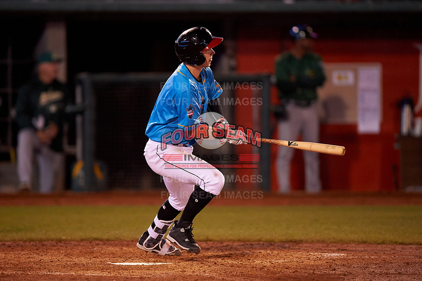 Lansing Lugnuts Nick Podkul (3) at bat during a Midwest League game against the Beloit Snappers at Cooley Law School Stadium on May 4, 2019 in Lansing, Michigan. The Lugnuts wore their Copa de la Diversión jerseys, becoming the Lansing Locos for the evening. Beloit defeated Lansing 2-1. (Zachary Lucy/Four Seam Images)