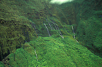 West Maui mountains w/ waterfalls, aerial