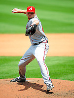 4 July 2009: Atlanta Braves' starting pitcher Tommy Hanson in action against the Washington Nationals at Nationals Park in Washington, DC. The Nationals defeated the Braves 5-3 to take the second game of the 3-game weekend series. Mandatory Credit: Ed Wolfstein Photo