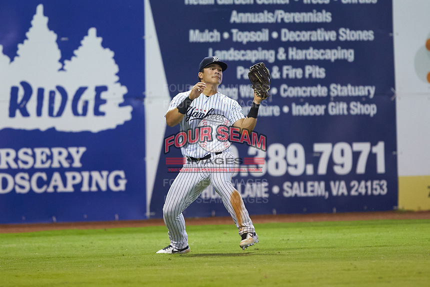 Pulaski Yankees left fielder Antonio Cabello (22) catches a fly ball during the game against the Burlington Royals at Calfee Park on August 31, 2019 in Pulaski, Virginia. The Yankees defeated the Royals 6-0. (Brian Westerholt/Four Seam Images)