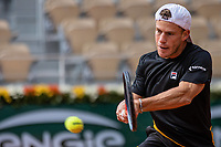 9th October 2020, Roland Garros, Paris, France; French Open tennis, Roland Garr2020;   Diego SCHWARTZMAN ARG hits a return during his match against Rafael NADAL ESP in the Philippe Chatrier court during the Semifinal of the French Open tennis tournament at Roland Garrin Paris