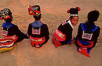Young Muoang Hill tribe girls in traditional costume, northern Laos