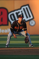 Chris Mariscal (3) of the Modesto Nuts in the field at second base during a game against the Rancho Cucamonga Quakes at LoanMart Field on June 5, 2017 in Rancho Cucamonga, California. Rancho Cucamonga defeated Modesto, 7-5. (Larry Goren/Four Seam Images)