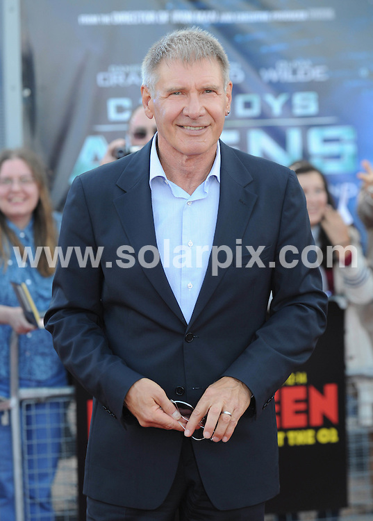**ALL ROUND PICTURES FROM SOLARPIX.COM**                                             **WORLDWIDE SYNDICATION RIGHTS**                                                                                  Caption: Arrivals at the Cowboys and Aliens UK film premiere, held at the 02 Arena, London, UK. 11 August 2011                                                                              This pic: Harrison Ford                                                                                             JOB REF: 13838 LNJ       DATE: 11_08_2011                                                           **MUST CREDIT SOLARPIX.COM OR DOUBLE FEE WILL BE CHARGED**                                                                      **MUST AGREE FEE BEFORE ONLINE USAGE**                               **CALL US ON: +34 952 811 768 or LOW RATE FROM UK 0844 617 7637**