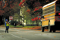 School crossing guard with stop sign