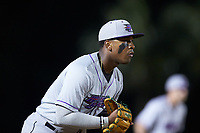 Winston-Salem Dash third baseman Yeyson Yrizarri (2) on defense against the Myrtle Beach Pelicans at TicketReturn.com Field on May 16, 2019 in Myrtle Beach, South Carolina. The Dash defeated the Pelicans 6-0. (Brian Westerholt/Four Seam Images)