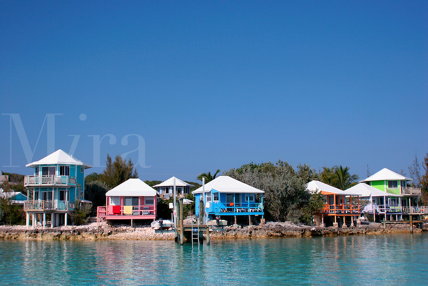 Guest houses on Staniel Cay, Exuma Islands, Bahamas.