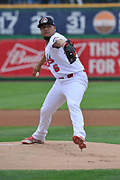 Peoria Chiefs starting pitcher Jesus Cruz (46) throws a pitch against the Quad Cities River Bandits at Dozer Park on June 11, 2018 in Peoria, Illinois. The Chiefs won 1-0.  (Dennis Hubbard/Four Seam Images)